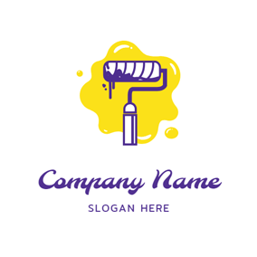 Paint Roller and Oil Paint logo design