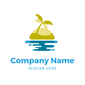 Palm Tree and Island logo design