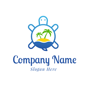 Palm Tree and Sea Turtle logo design