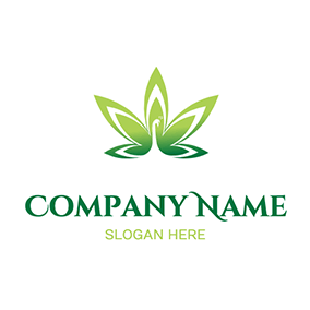 Peacock Shape Cannabis Leaf Weed logo design