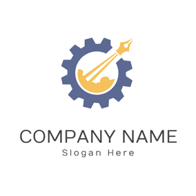 Pen Nib and Gear Icon logo design