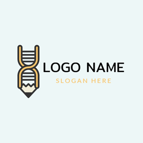 Pencil and Dna Structure logo design