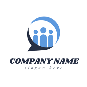 People and Dialog Box logo design