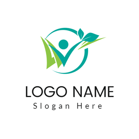 People and Green Sprout logo design