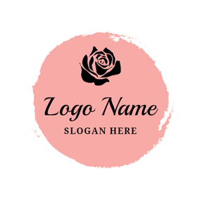 Pink and Black Flower logo design