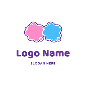 Pink and Blue Slime logo design