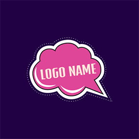 Pink and White Cartoon Dialog Box logo design
