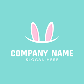 Pink and White Cartoon Rabbit logo design