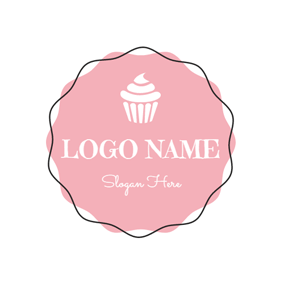 Pink and White Ice Cream logo design