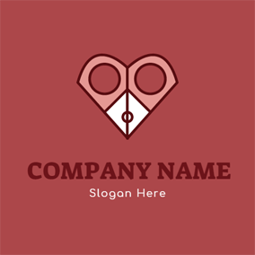Pink and White Scissor logo design