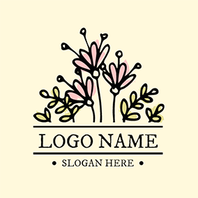 Pink and Yellow Flower logo design