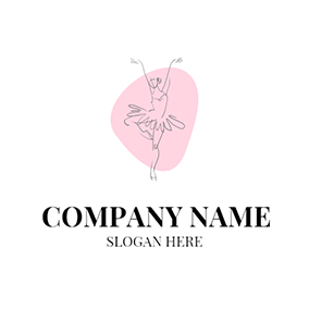 Pink Background and Ballet Dancer logo design
