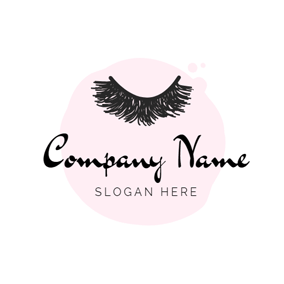 Pink Background and Eyelash logo design
