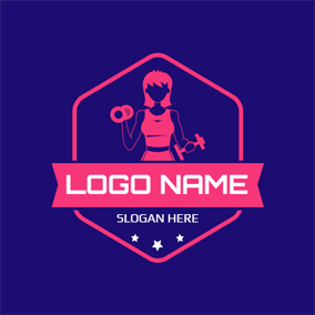 Pink Badge and Woman Athlete logo design