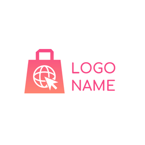 Pink Bag and Ecommerce logo design