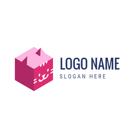 Pink Box and Cat logo design