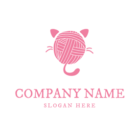 Pink Circle and Cat logo design