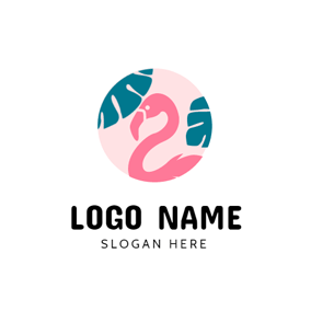 Pink Circle and Flamingo logo design