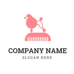 Pink Comb and Abstract Dog logo design