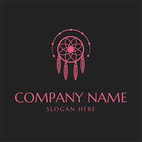 Pink Dreamcatcher and Star logo design