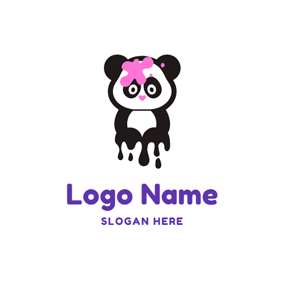 Pink Flower and Cute Panda logo design