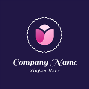 Pink Flower and Letter U logo design