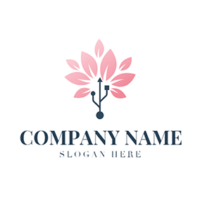 Pink Flower and Usb Icon logo design