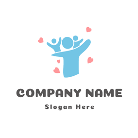 Pink Heart and Blue Family logo design