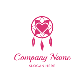 Pink Heart Shape Feather and Dreamcatcher logo design