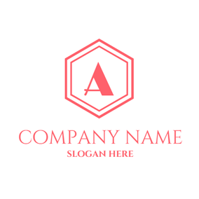 Pink Hexagon and Letter A logo design