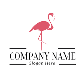 Pink Outlined Flamingo logo design