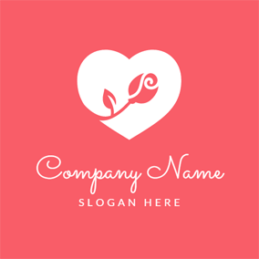 Pink Rose and White Heart logo design