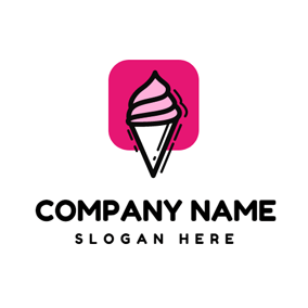 Pink Square and Ice Cream logo design
