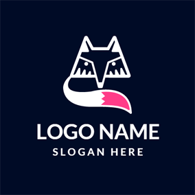 Pink Tail and White Fox Head logo design