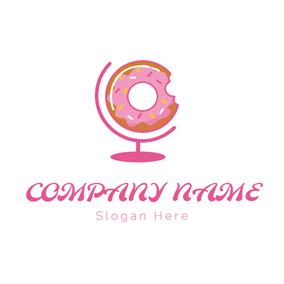 Pink Tellurion and Doughnut logo design