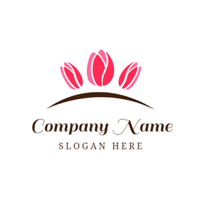 Pink Tulip and Garden logo design