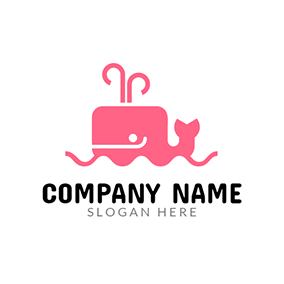 Pink Wave and Whale logo design