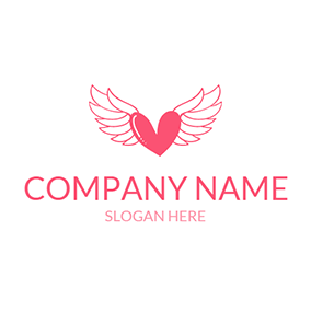 Pink Wing and Heart Icon logo design