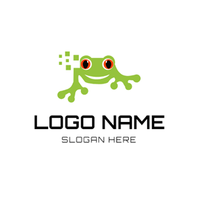 Pixel and Green Frog logo design