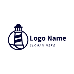 Plain Wave and Lighthouse logo design