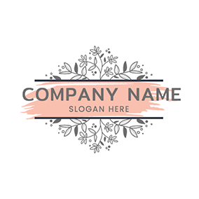 Plant Decoration Banner Watercolor logo design