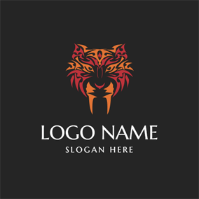 Powerful Tribal Tiger Symbol logo design