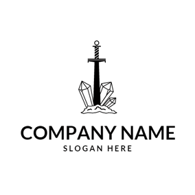 Precious Stone and Sword logo design