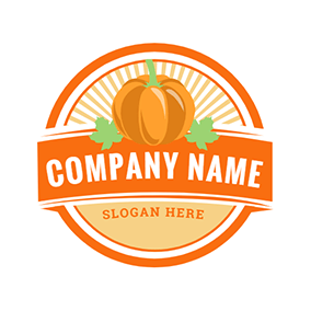 Pumpkin and Banner logo design