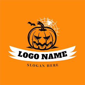 Pumpkin and Cobweb logo design