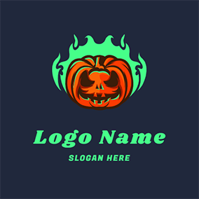 Pumpkin and Ghost Fire logo design
