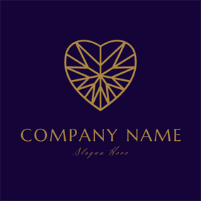 Purple and Golden Heart logo design