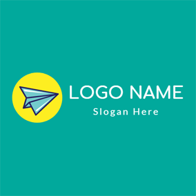 Purple and Green Paper Plane logo design