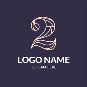 Purple and Pink Number Two logo design