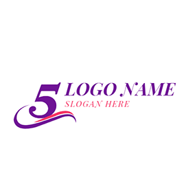 Purple and White 5th Anniversary logo design